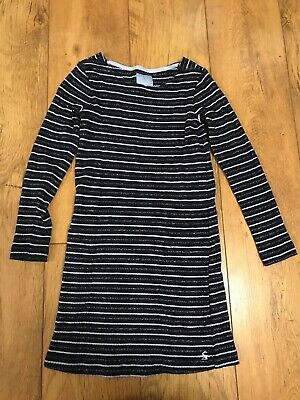 Designer Joules Older Girls Marnie Blue Striped Long Sleeve Dress 9-10 Years VGC