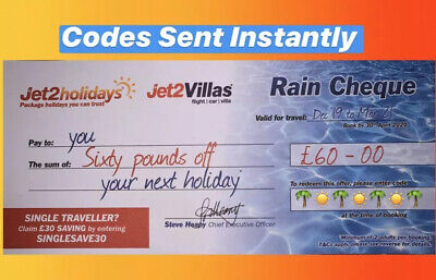 10 X Jet2Holidays £60 Rain Cheque voucher Promo Code. Exp June 2020