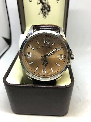 US Polo Assn Mens US50006 Silver Tone Brown Strap Analog Watch #A131