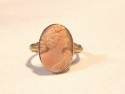 Lovely Antique well-Carved Pink Coral Cameo Ring 10 kt, adjustable size