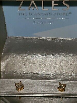 GORGEOUS ZALES 14k SOLID GOLD GENUINE .50ct HALF CARAT PRINCESS DIAMOND EARRINGS