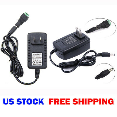 12V DC 1A 2A Wall Power Supply Adapter US Plug for 3528 5050 SMD LED Strip Light