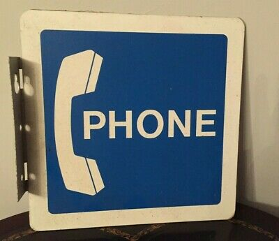 """Old Vintage 12"""" x 12"""" Heavy Aluminum Double Sided Phone Sign"""