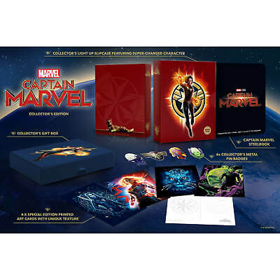 Captain Marvel Collectors Edition Light Up 4K UHD & Blu Ray Steelbook NEW