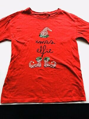 Next Girls Christmas Red T-shirt Top Age 9 Years 'Xmas Elf' Printed