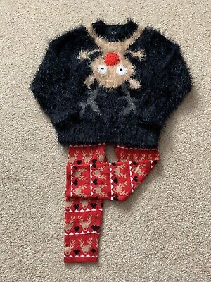 NEXT Girls Black Fluffy Christmas Xmas Jumper Reindeer Primark Leggings Age 4-5