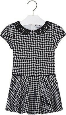 Mayoral Girls Black White Houndstooth Dress Age 6 Years