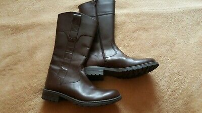 Marks & Spencer M&S New Real Leather Girls Knee High Boots Brown UK 4 / 37