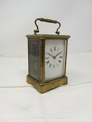 Antique Very Heavy French Brass Striking Carriage Clock Aiguilles Bevelled Glass