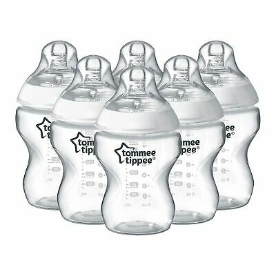 6 x Tommee Tippee Closer To Nature Clear 260ml Baby Feeding Bottles Pack 0m+ Set