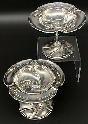 A Pair of Sterling Silver Attr. Kate Harris Arts & Crafts Nouveau Tazzas 1904