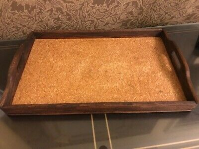 Antique 19th Cen Wood Serving Tray w/ Natural Cork Interior Hand Made w/ Handles