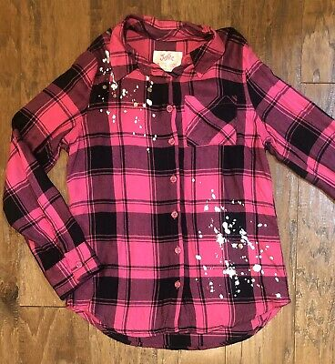 Justice Girls Size 8 Pink Black Plaid Silver Button Up Shirt Top