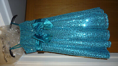 Sparkly M&S Marks & Spencer Turquoise Teal Sequins Dress Party Xmas Age 9 New