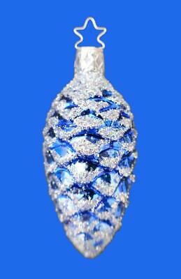 Md Inge Glas Blue Silver Glitter Pine Cone German Blown Glass Christmas Ornament