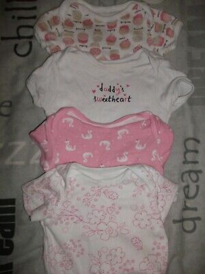 Baby Girls 4X Short Sleeved Pink & White Vests - Age 0-3 Months