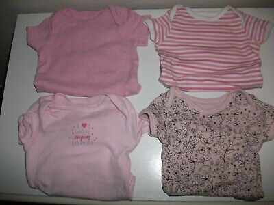 Baby Girls Short Sleeved Plain & Print Vests - x 4 - Age 0-3 Months