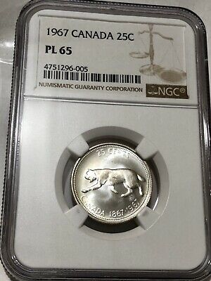 1967 Canada, 25 Cents /Quarter Dollar, Silver Coin,*NGC PL 65*, Canadian Antique