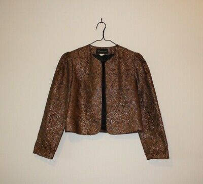Vintage Courtwell Short Bolero Jacket, Gold, Orange, Black Paisley, S-M 8