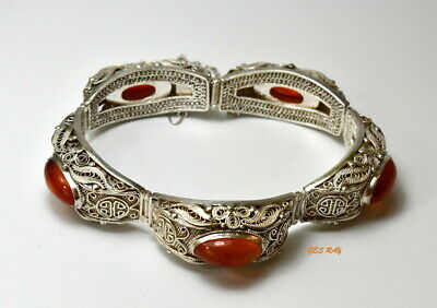 Antique Filigree Bracelet Gilt Sterling Silver Carnelian Vintage Chinese Export