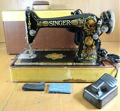 Heavy Duty 1923 SINGER 66 Red EYE Sewing Machine CANVAS LEATHER - SERVICED