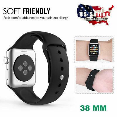 38mm Soft Silicone Wrist Bracelet Replacement Band Strap For Apple Watch iWatch