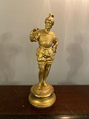 Antique Gilt Spelter Bronze Statue French Knight Nobleman Clock Topper 14 1/2""