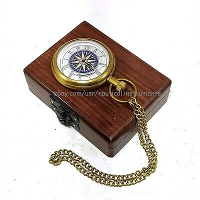 Vintage Antique Brass Pocket Watch Nautical Collectible Anchor Clock With Box
