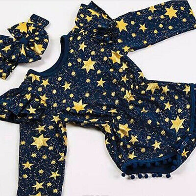 Toddler Kids Baby Girl Clothes Tops Romper Bodysuit+Headband Sunsuit Outfit Set
