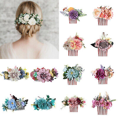 Ladies Flower Hair Combs Clips Pins Slide Hair Accessories Wedding Party Show