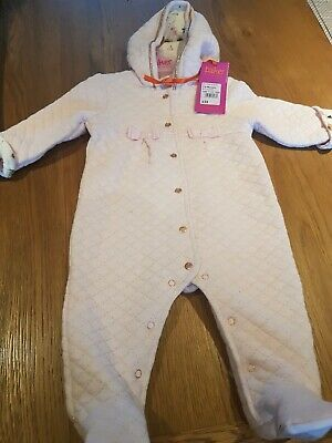 Ted Baker Baby Girls Light Pink Textured Snugglesuit Age 3-6 Months New