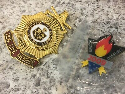 CFA Life Member Medal Country Fire Authority + Black Saturday 2009 badge
