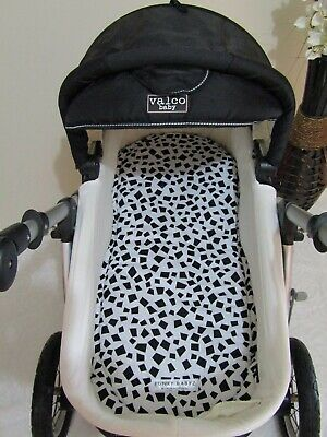 Pram bassinet liner-Mismatched black shapes-Fits all pram bassinets