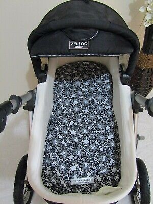 Pram bassinet liner-Black retro flowers-Fits all pram bassinets