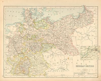 c1900 VICTORIAN MAP ~ GERMAN EMPIRE ~ BRADENBURG SAXONY INSET ENVIRONS BERLIN