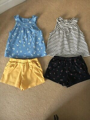 Mothercare Baby Girls Age 9-12 Months Vest Tops & Shorts Sets X2