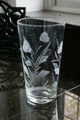 Good Quality Cut & Etched Flared Vase with Floral Spray ART DECO to MID CENTURY