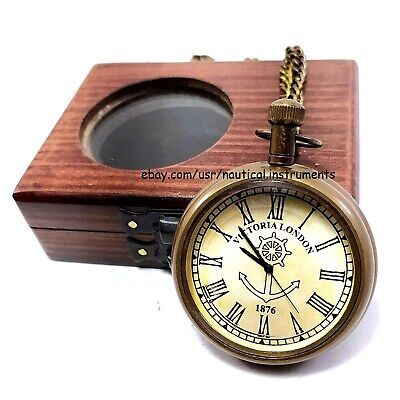 Vintage Antique Brass Anchor Pocket Watch Collectible & Nautical Clock With Box