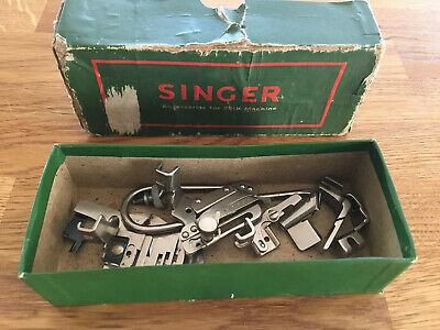 Vintage Singer Sewing Machine Box of Accessories, Screwdrivers, Binder Foot etc.