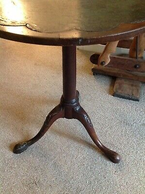 Rare Georgian Antique wine / lamp table with splendid carved legs & leather top