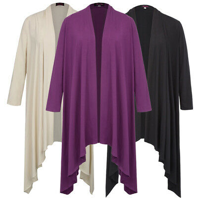 Hot Womens Ladies Plain Full Sleeve Open Front Waterfall Hanky Hem Cardigan Tops