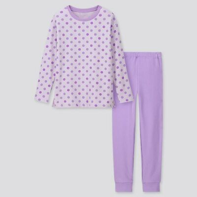BN UNIQLO Girls Ultra Stretch Long-Sleeve Lounge/Sleep Set (Age 9-10)