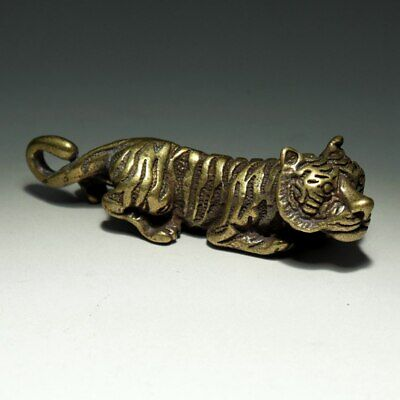 Collectable China Old Bronze Hand-Carved Feral Tiger Delicate Decorate Statue