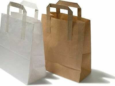 White & Brown With Flat Handle Strong Biodegradable Kraft Paper Bags All SIZES