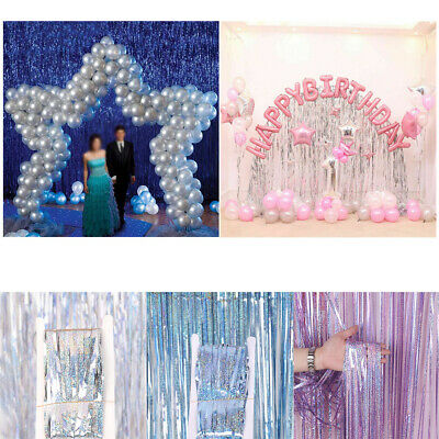 Metallic Foil Tinsel Fringe Curtain Birthday Party Decoration Wedding BackgrouWR