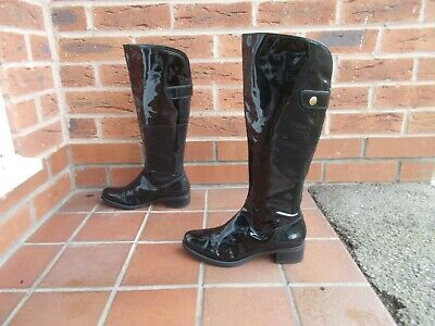 CLARKS Black Patent Leather Knee High Riding Style Boots * s4 uk * BACK ZIP