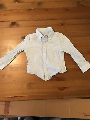 Baby Boys Armani Junior Pale Blue Long Sleeve Shirt 2a 12-18 Months Hardly Worn