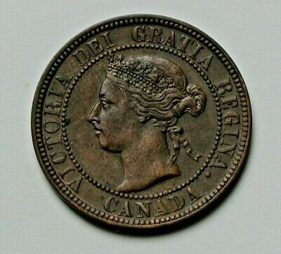 1901 CANADA Victoria Coin - Large Cent (1¢) - AU+ brown