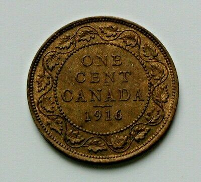1916 CANADA George V Coin - Large Cent (1¢) - AU+ brown - trace-lustre