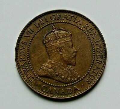 1909 CANADA Edward VII Coin - Large Cent (1¢) - brown
